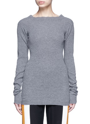 Main View - Click To Enlarge - Stella McCartney - Off-shoulder rib knit wool sweater
