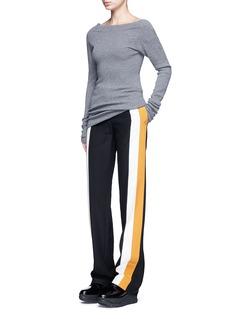 Stella McCartneyOff-shoulder rib knit wool sweater