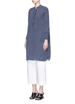 Front View - Click To Enlarge - Equipment - 'Blaine' stripe long silk shirt dress