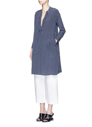 Figure View - Click To Enlarge - Equipment - 'Blaine' stripe long silk shirt dress