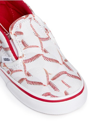 Detail View - Click To Enlarge - Vans - 'Slip-on V Sports' baseball print toddler skate shoes
