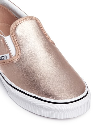 Detail View - Click To Enlarge - Vans - 'Classic Metallic' leather kids slip-ons