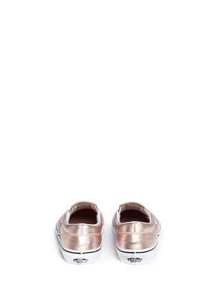 Back View - Click To Enlarge - Vans - 'Classic Metallic' leather kids slip-ons