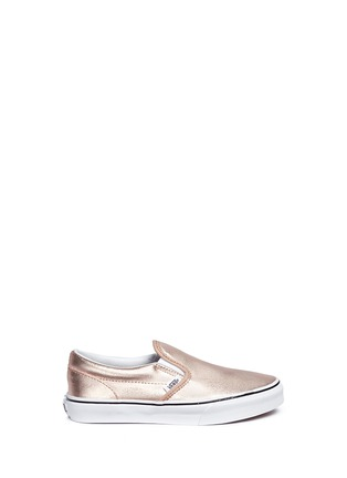 Main View - Click To Enlarge - Vans - 'Classic Metallic' leather kids slip-ons