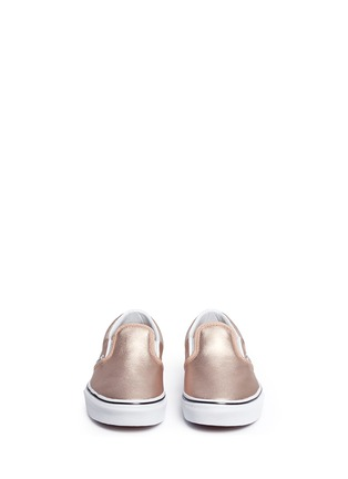 Figure View - Click To Enlarge - Vans - 'Classic Metallic' leather kids slip-ons