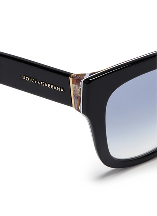 Detail View - Click To Enlarge - Dolce & Gabbana - Sicilian Carretto print interior acetate oversize sunglasses