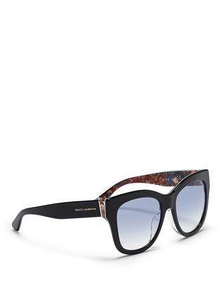 Figure View - Click To Enlarge - Dolce & Gabbana - Sicilian Carretto print interior acetate oversize sunglasses