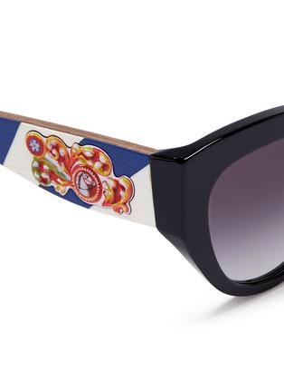 Dolce & Gabbana-Sicilian Carretto relief wood temple acetate butterfly sunglasses