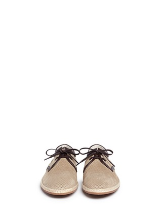 Front View - Click To Enlarge - Dolce & Gabbana - Perforated suede espadrille Derbies