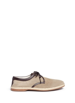 Main View - Click To Enlarge - Dolce & Gabbana - Perforated suede espadrille Derbies