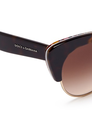 Detail View - Click To Enlarge - Dolce & Gabbana - Sicilian Carretto print interior half rim cat eye sunglasses