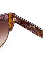 Sicilian Carretto print interior half rim cat eye sunglasses