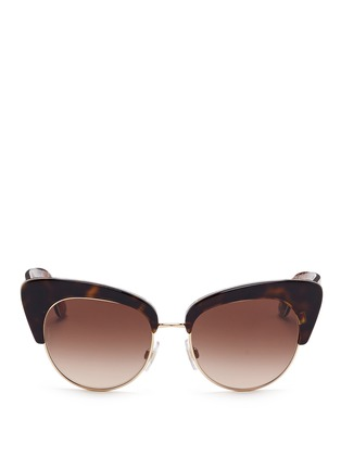 Main View - Click To Enlarge - Dolce & Gabbana - Sicilian Carretto print interior half rim cat eye sunglasses