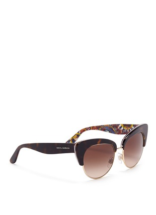 Figure View - Click To Enlarge - Dolce & Gabbana - Sicilian Carretto print interior half rim cat eye sunglasses