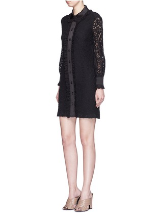 Figure View - Click To Enlarge - Gucci - Cluny lace satin trim dress