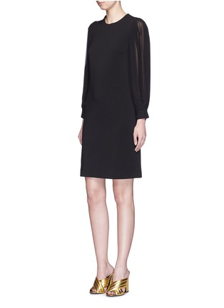 Gucci - Monogram button plissé pleat sleeve tech knit dress