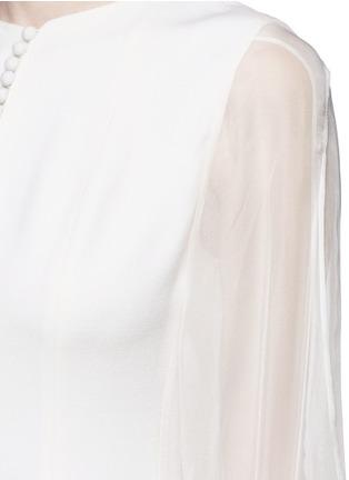 细节 - 点击放大 - ANIRAC - 雪纺衣袖拼接羊毛连衣裙