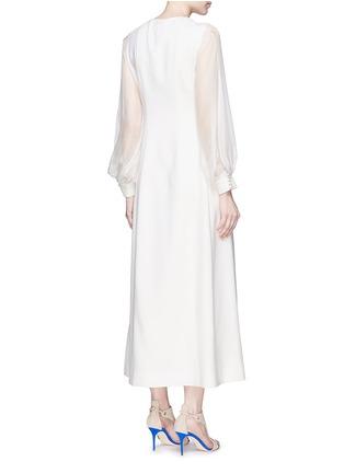 背面 - 点击放大 - ANIRAC - 雪纺衣袖拼接羊毛连衣裙
