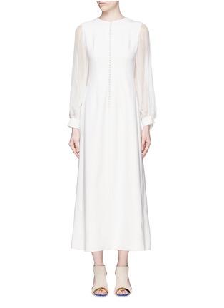 首图 - 点击放大 - ANIRAC - 雪纺衣袖拼接羊毛连衣裙