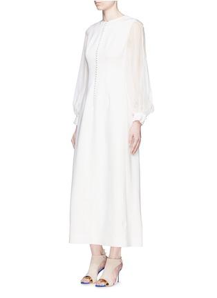 模特儿示范图 - 点击放大 - ANIRAC - 雪纺衣袖拼接羊毛连衣裙