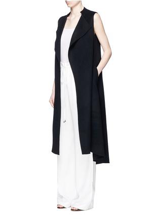 模特示范图 - 点击放大 - ANIRAC - 羊毛混羊绒长款背心大衣