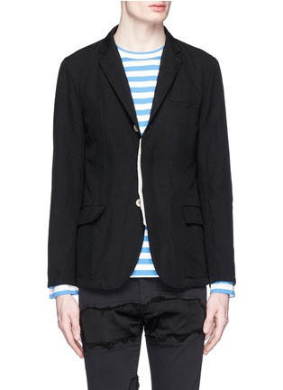 Main View - Click To Enlarge - Johnundercover - Contrast trim chevron stripe blazer
