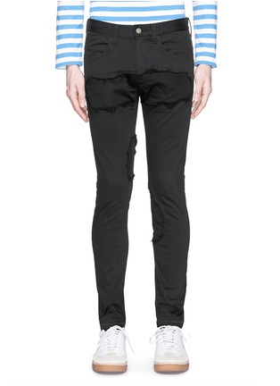 Detail View - Click To Enlarge - Johnundercover - Raw edge patch skinny jeans