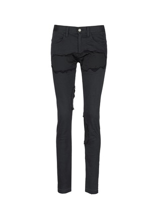 Main View - Click To Enlarge - Johnundercover - Raw edge patch skinny jeans