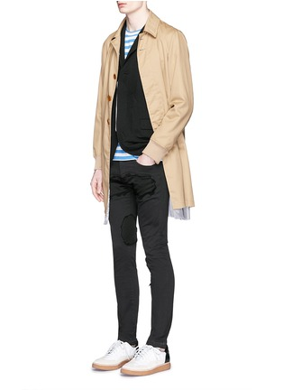 Figure View - Click To Enlarge - Johnundercover - Raw edge patch skinny jeans