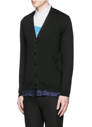 Front View - Click To Enlarge - Johnundercover - Raw edge cupro underlay cotton cardigan