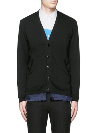 Main View - Click To Enlarge - Johnundercover - Raw edge cupro underlay cotton cardigan