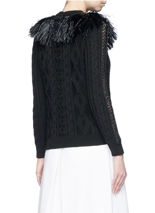 Back View - Click To Enlarge - Valentino - Raffia fringe crochet trim cotton sweater