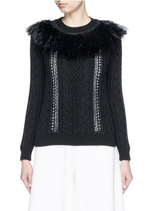 Main View - Click To Enlarge - Valentino - Raffia fringe crochet trim cotton sweater
