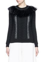 Raffia fringe crochet trim cotton sweater