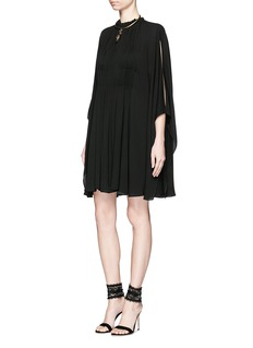 VALENTINO Ruche silk georgette cape dress