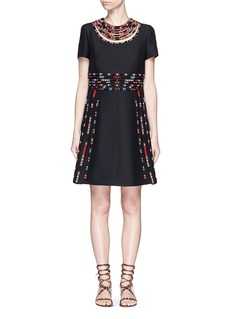 VALENTINO Masai bead embroidery Crepe Couture dress