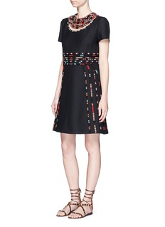 VALENTINOMasai bead embroidery Crepe Couture dress