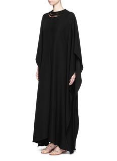 VALENTINOMulti prong neck silk cady crepe kaftan gown