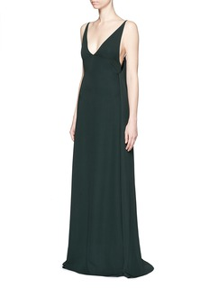 VALENTINOLow back V-neck silk cady crepe gown
