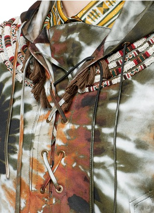 Detail View - Click To Enlarge - Valentino - Masai bead embroidery tie dye print hooded jacket