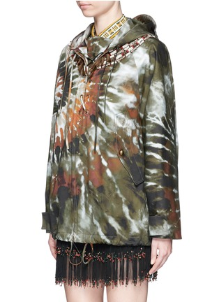 Front View - Click To Enlarge - Valentino - Masai bead embroidery tie dye print hooded jacket