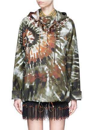 Main View - Click To Enlarge - Valentino - Masai bead embroidery tie dye print hooded jacket