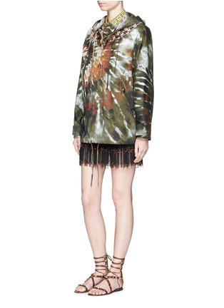 Figure View - Click To Enlarge - Valentino - Masai bead embroidery tie dye print hooded jacket