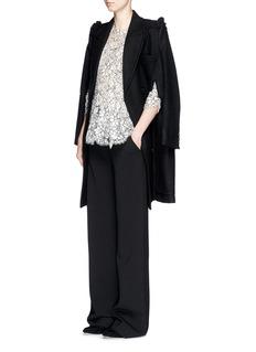 PREEN BY THORNTON BREGAZZI'Sasha' frill shoulder felted wool cape coat