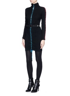PREEN BY THORNTON BREGAZZI'Katya' lace-up turtleneck sweater dress