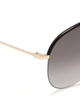 Detail View - Click To Enlarge - Victoria Beckham - 'Classic Victoria' leather brow bar aviator sunglasses