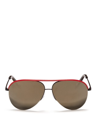 Main View - Click To Enlarge - Victoria Beckham - 'Classic Victoria' leather brow bar aviator sunglasses