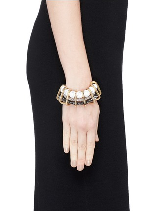 Figure View - Click To Enlarge - Venna - Marble bead crystal spike chain link bracelet
