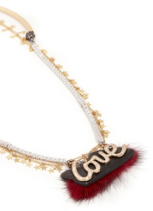 Detail View - Click To Enlarge - Venna - 'Love' crystal slogan star chain open necklace