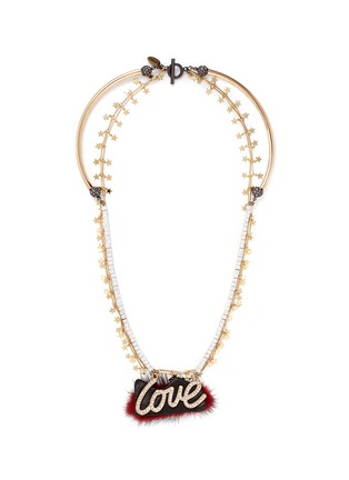 Main View - Click To Enlarge - Venna - 'Love' crystal slogan star chain open necklace
